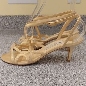 JIMMY CHOO STRAPPY MUTED GOLD SANDALS